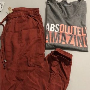 2piece XL gray Tee and Med rust pants